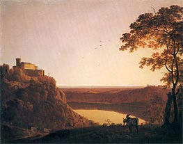 Lake Nemi at Sunset, c.1790 by Wright of Derby | Painting Reproduction