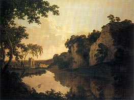 Landscape with Dale Abbey and Church Rocks, c.1785 von Wright of Derby   Gemälde-Reproduktion