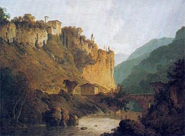 The Convent of San Cosimato and part of the Claudian Aqueduct near Vicovaro in the Roman Campagna, c.1788/98 by Wright of Derby | Painting Reproduction