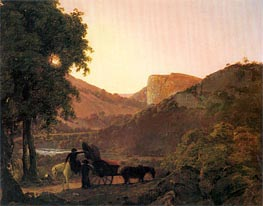 Landscape with Figures and a Tilted Cart, Matlock High Tor in the Distance | Wright of Derby | Painting Reproduction