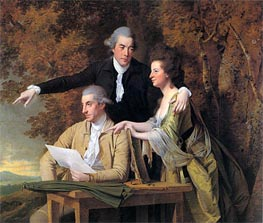 The Rev. D'Ewes Coke his Wife Hannah and Daniel Parker Coke, c.1781/82 by Wright of Derby | Painting Reproduction