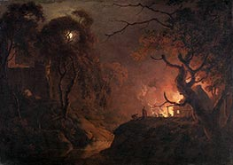 Cottage on Fire at Night, c.1785/93 by Wright of Derby | Painting Reproduction