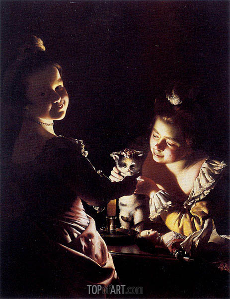 Two Girls Dressing a Kitten by Candlelight, c.1768/70 | Wright of Derby | Painting Reproduction