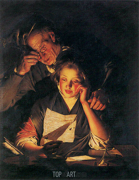 A Girl reading a Letter with an Old Man, c.1767/70 | Wright of Derby | Painting Reproduction