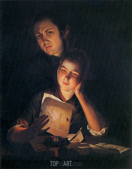 A Girl reading a Letter by Candlelight with a Young Man, c.1760/62 | Wright of Derby | Painting Reproduction