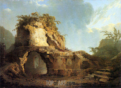 Virgil's Tomb Sun Breaking through a Cloud, 1785   Wright of Derby   Gemälde Reproduktion