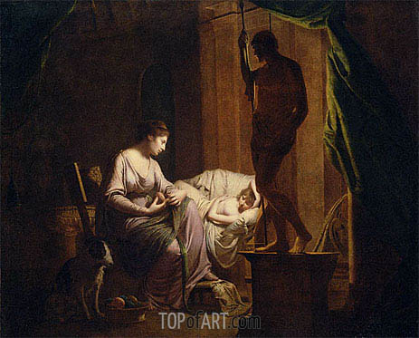 Penelope Unraveling Her Web by Lamp Light, 1785   Wright of Derby   Gemälde Reproduktion