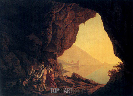 A Grotto by the Sea Side in the Kingdom of Naples with Banditti a Sunset, 1778   Wright of Derby   Gemälde Reproduktion