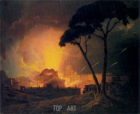 The Annual Girandola at the Castle of St Angelo Rome, 1776 | Wright of Derby | Gemälde Reproduktion