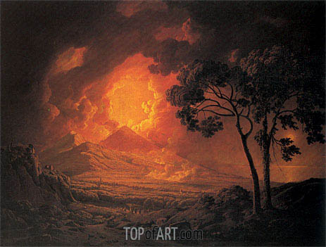 An Eruption of Mout Vesuvius with the Procession of St Januarius's Head, 1778 | Wright of Derby | Gemälde Reproduktion