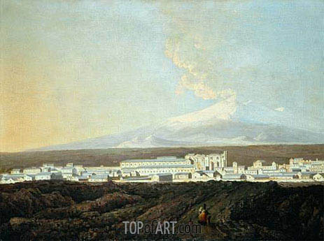 A View of Catania with Mount Etna in the Distance, c.1775   Wright of Derby   Gemälde Reproduktion