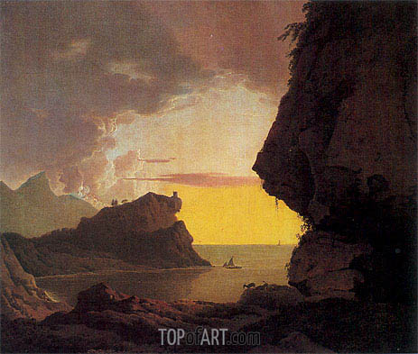 Sunset on the Coast near Naples, c.1785/90 | Wright of Derby | Gemälde Reproduktion