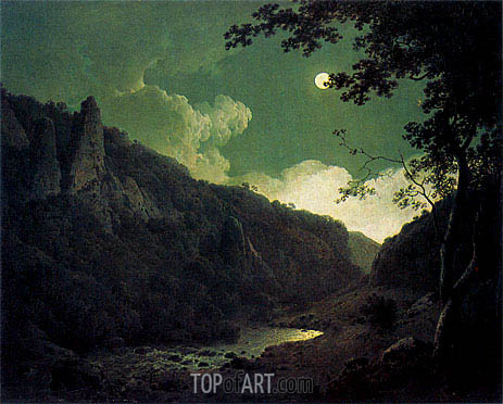 Dovedale by Moonlight, 1785 | Wright of Derby | Gemälde Reproduktion