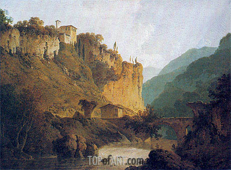 The Convent of San Cosimato and part of the Claudian Aqueduct near Vicovaro in the Roman Campagna, c.1788/98 | Wright of Derby | Painting Reproduction