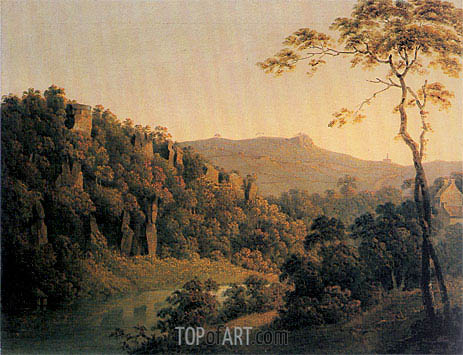 View in Matlock Dale looking South to Black Rock Escarpment, c.1780/85 | Wright of Derby | Painting Reproduction
