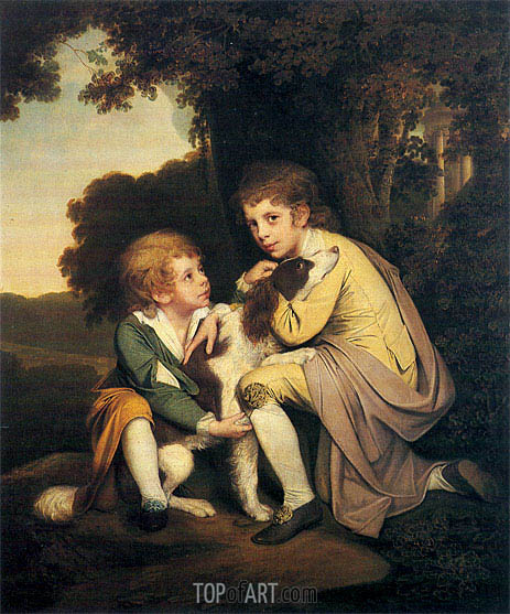 Portrait of Thomas and Joseph Pickford as Children, c.1777/79   Wright of Derby   Painting Reproduction