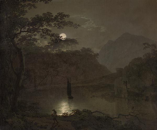 A Lake by Moonlight, c.1780/82 | Wright of Derby | Painting Reproduction