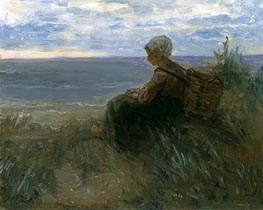 A Fishergirl on a Dune-Top Overlooking the Sea, c.1900 by Jozef Israels | Painting Reproduction