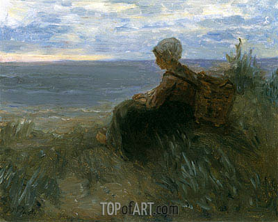 A Fishergirl on a Dune-Top Overlooking the Sea, c.1900 | Jozef Israels | Painting Reproduction
