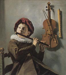 The Young Flute Player, c.1630/35 by Judith Leyster | Painting Reproduction
