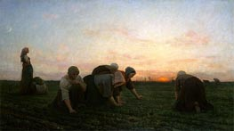 The Weeders, 1868 by Jules Breton | Painting Reproduction
