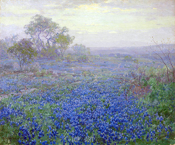 A Cloudy Day, Bluebonnets near San Antonio, Texas, 1918 | Julian Onderdonk | Painting Reproduction