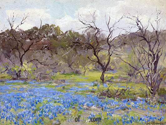 Early Spring, Bluebonnets and Mesquite, 1919 | Julian Onderdonk | Painting Reproduction