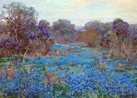 Field of Bluebonnets with Trees, undated | Julian Onderdonk | Painting Reproduction