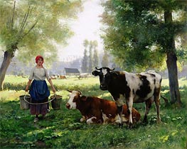The Milk Girl, undated by Julien Dupre | Painting Reproduction