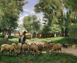 A Shepherd and his Flock, undated by Julien Dupre | Painting Reproduction