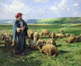 A Young Shepherdess Watching Over Her Flock, undated by Julien Dupre | Painting Reproduction