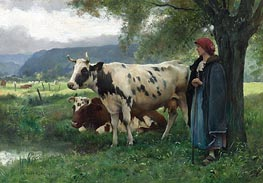 Peasant Woman with Cows, Undated by Julien Dupre | Painting Reproduction