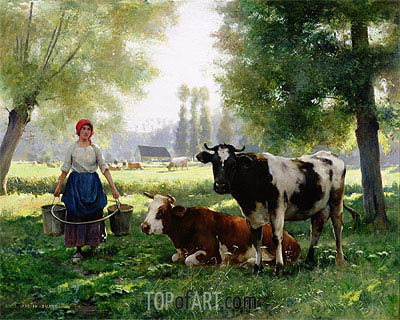 The Milk Girl, undated | Julien Dupre | Painting Reproduction