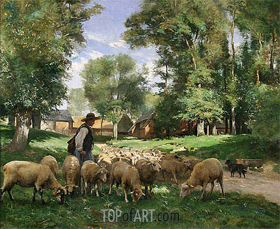 A Shepherd and his Flock, undated | Julien Dupre | Painting Reproduction