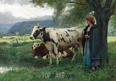 Peasant Woman with Cows, Undated | Julien Dupre | Painting Reproduction