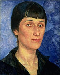 Portrait of Anna Akhmatova, 1922 by Kuzma Petrov-Vodkin | Painting Reproduction