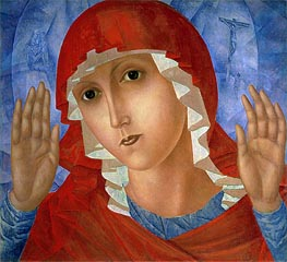 The Mother of God (The Tenderness of Cruel Hearts), c.1914/15 by Kuzma Petrov-Vodkin | Painting Reproduction