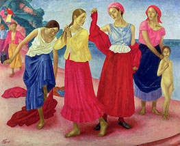 Young Women on the Volga, 1915 by Kuzma Petrov-Vodkin | Painting Reproduction