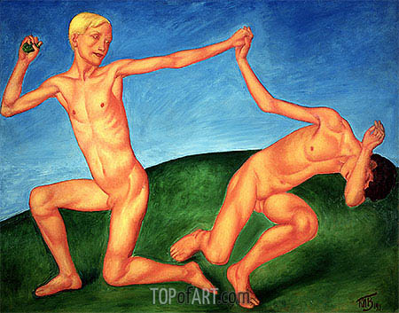 The Playing Boys, 1911 | Kuzma Petrov-Vodkin | Painting Reproduction