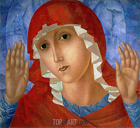 The Mother of God (The Tenderness of Cruel Hearts), c.1914/15 | Kuzma Petrov-Vodkin | Painting Reproduction