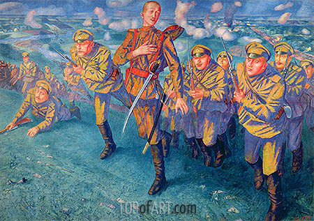 In the Firing Line, 1916 | Kuzma Petrov-Vodkin | Painting Reproduction