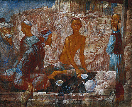 Samarkand Scene, 1921 | Kuzma Petrov-Vodkin | Painting Reproduction