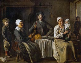 Peasant Family (The Return from the Baptism), 1642 by Le Nain Brothers | Painting Reproduction
