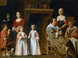 Portraits in an Interior, 1647 by Le Nain Brothers | Painting Reproduction