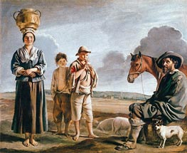The Resting Horseman, b.1640 by Le Nain Brothers | Painting Reproduction