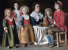 A Woman and Five Children, 1642 by Le Nain Brothers | Painting Reproduction