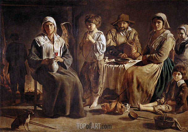 Peasant Family in an Interior, c.1642 | Le Nain Brothers | Painting Reproduction
