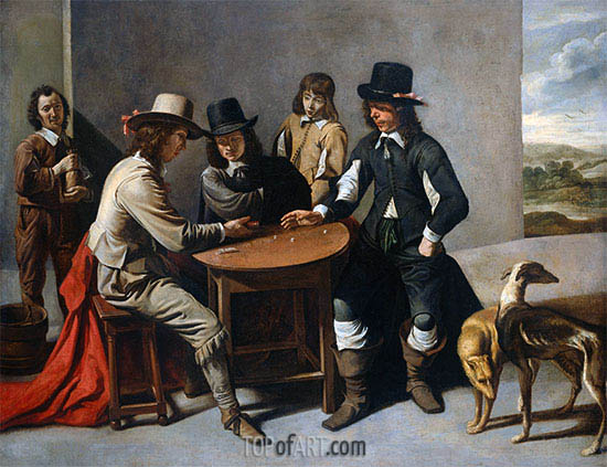 Dice Players (The Gamblers), c.1630/80 | Le Nain Brothers | Painting Reproduction