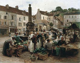 The Market at Chateau-Thierry, 1879 by Leon-Augustin Lhermitte | Painting Reproduction