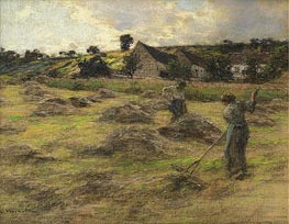 Haymaking Behind the Farm, 1878 by Leon-Augustin Lhermitte | Painting Reproduction